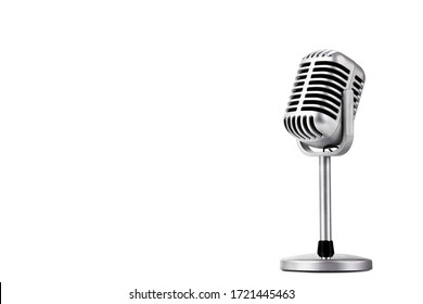 Retro style microphone isolated on white background