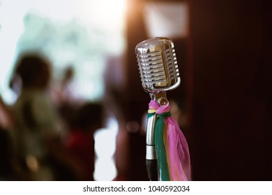 Retro style microphone on stage, Old song concept