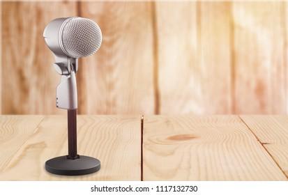 Retro style microphone recorder on desk