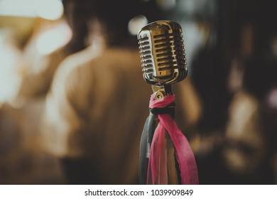 Retro style microphone in vintage tone, Old song concept