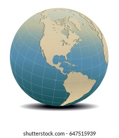 Retro Style North and South America Global World, Elements of this image furnished by NASA - Raster Version