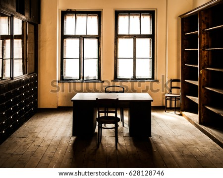 Retro style office room wooden table stock photo edit now