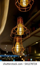 Retro style of old dusty electric light lamp bulbs for interior decoration