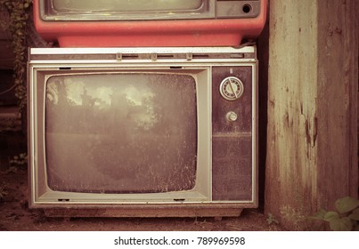 Retro style  old television from  1950, 1960 and  1970s. Vintage tone instagram style filtered photo