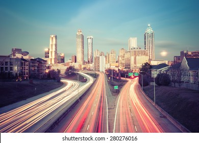 Retro style photo of Atlanta skyline, Georgia, USA