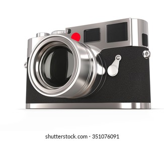Retro style photo camera - focused on lens
