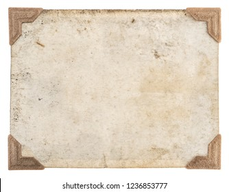 Retro style photo frame. Old photo card with corners isolated on white background