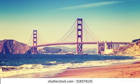 Retro style photo of Golden Gate Bridge, San Francisco, California, USA.