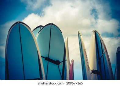 Retro Style Photo Of Vintage Hawaiian Surf Boards