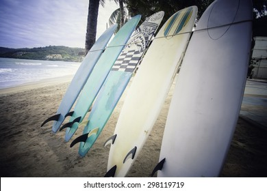 Retro Style Photo Of Vintage phuket thailand Surf Boards