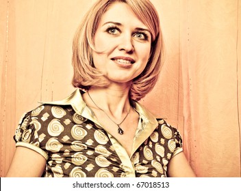 Retro style Portrait of a fresh and lovely woman face closeup