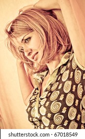 Retro style Portrait of a fresh and lovely woman