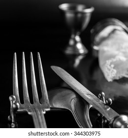 Retro style silverware, spoon, fork and knife black and white