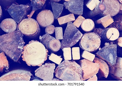 Retro Style Stack of Firewood Logs