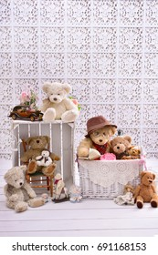 retro style teddy bears arrangements in white room