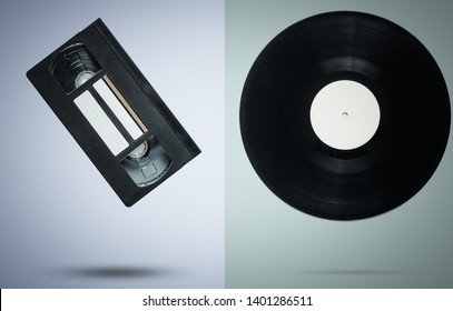 Retro style video cassette and vinyl record on pastel background, minimalism. Photo with shadow