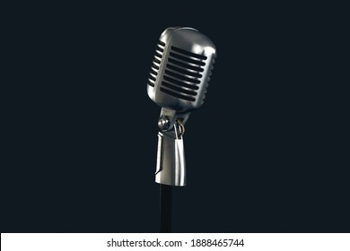 Retro style vintage microphone isolated on black studio background