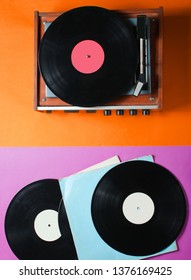 Retro style viny player and vinyl records with covers on a colored paper background. Pop culture, Top view