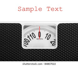 Retro style weighing machine with space for your text.