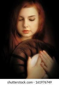 Retro styled artistic beautiful girl portrait. Art photo, noise added manually
