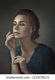 Retro styled beauty. Female grungy portrait with art make up