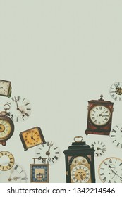 Retro styled collection of different vintage table clocks and clock faces