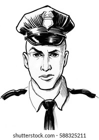 Retro styled drawing of a policeman in ubiform