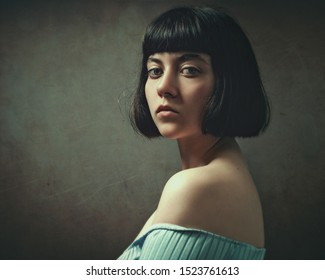 Retro styled female portrait with added grungy texture