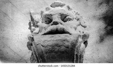 Retro styled fragment of ancient statue of Hades (Hades, Pluto) - God is the kingdom of the dead.