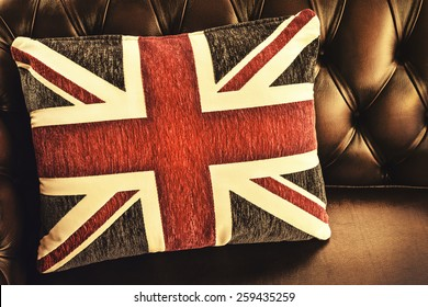 Retro styled image of a cushion with the English flag