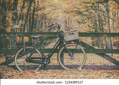 Retro styled image of an electric cargo bicycle in autumn on the Dutch Veluwe