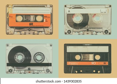 Retro styled image of four old audio compact cassettes