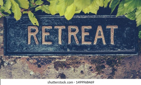 Retro Styled Image Of A Hidden Sign For A Spiritual Retreat
