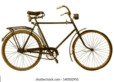 Retro styled image of a nineteenth century bicycle isolated on a white background