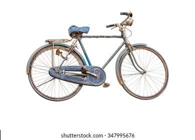 Retro styled image of a nineteenth century bicycle isolated on a white background with clipping path.