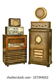 Retro styled image of a set of vintage radio's isolated on a white background
