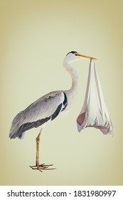 Retro styled image of a stork holding a newborn baby in a white blanket