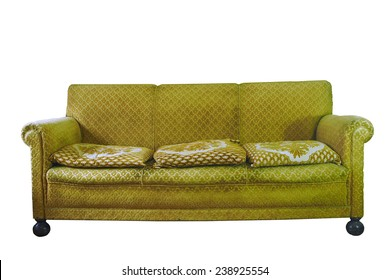 retro stylish yellow armchair isolated on white