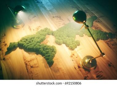 Retro sustainable world concept. 3d illustration.