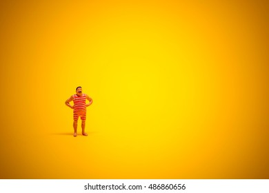 Retro swimmer with lot of yellow sunny copyspace.
