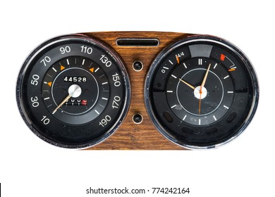 Retro tachometer of a vintage car isolated on white background.