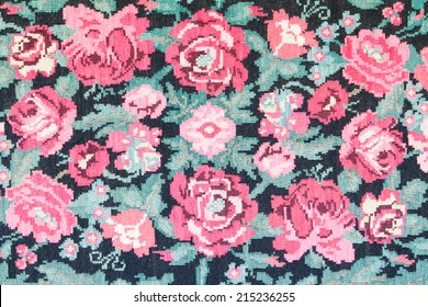 retro tapestry fabric pattern with flower patterns