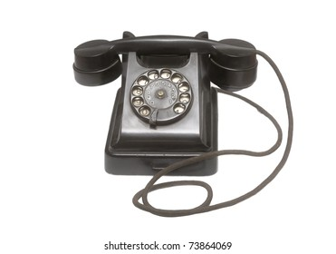 Retro telephone with a disk for number set