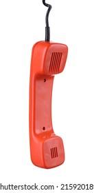 Retro telephone handset, isolated on white