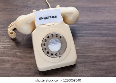 Retro telephone with note - Enquiries