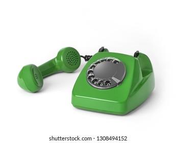 Retro telephone on white