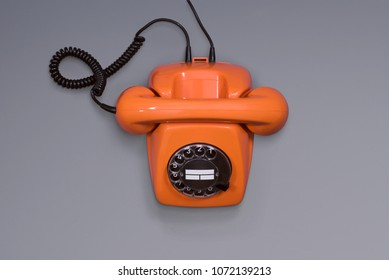 Retro telephone top view