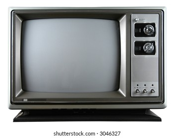 Retro television with knobs isolated over a white background