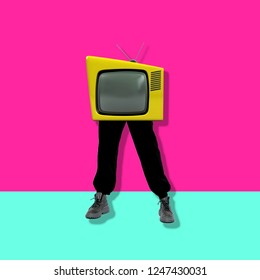 Retro television with legs on colorful background.