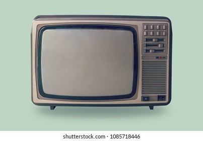 Retro television on pastel color background.